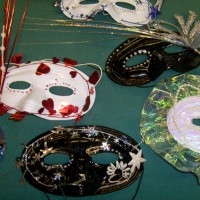 MARDI GRAS: Five of the nine masks available 