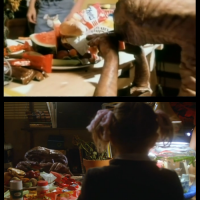 You can just barely see my hands over the table. FROM THE FILM - during the scene, I decided ET was a vegetarian and tossed aside the hamburger [bottom left].