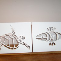 Green Sea Turtle & abstract Fish Design have optional star in eye for Christmas season.